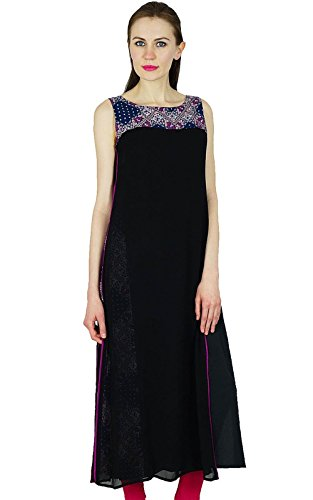 Bimba-Frauen-lange Kurta Kurti ethnischen Kleid indischen Tunika Bluse Lässige (Lange Kleid Indische)