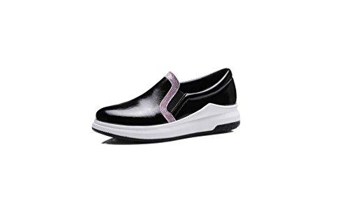 Beauqueen Pompe Slope femminile pigro scarpe primavera e l'estate del tacco della fascia elastica lavoro femminile Stivali Verde Nero Oro pattini casuali Europa Size 34-43 Black