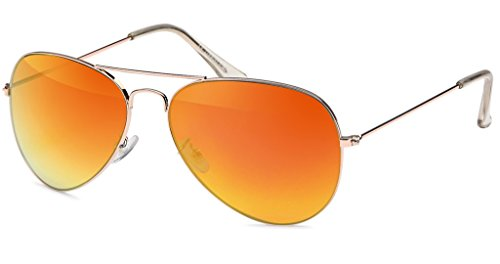 UVprotect® Aviator Farbig Verspiegelt Sonnenbrille Gold Rot W17