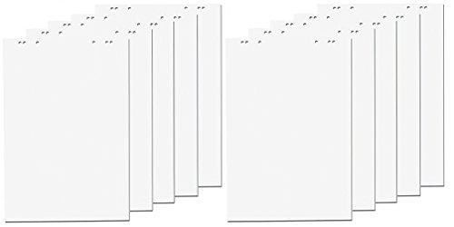 10x Flipchartblöcke, weiß blanco/blanco, je Block 20 Blatt 69x99 cm, 6 fach Lochung, perforiert, Papier für Flipchart (10 Blöcke blanco)