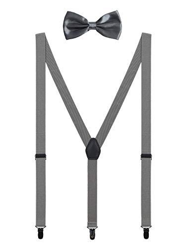 WANYING Herren Hosenträger Fliege Set 3 Schwarz Clips Y Form 2,5cm Hosenträger Einfach Schick Gentleman für Körpergröße 150-200cm - Dunkelgrau (Kleidung, Baby, Tag Vater)