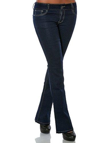Damen Boot-Cut Jeans Jeanshose Denim Hose Schlaghose (weitere Farben) No 15761, Farbe:Blau, Größe:XS / 34 (Fit-bootcut-stretch-jeans)