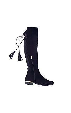 IKRUSH Women's Raven Faux Suede Tie Tassel Knee High Boots Size in BLACK Size