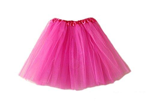 (DELEY Damen Tütü Ballettrock Tüllrock Petticoat Pettiskirt Unterrock Tanzkleid Hot Pink)