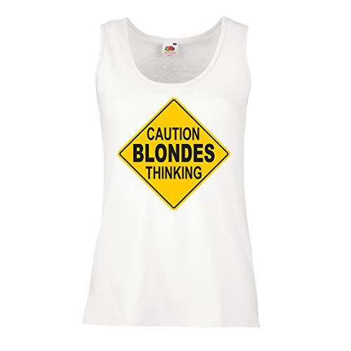 lepni.me Damen Tank-Top Vorsicht, Blondinen Denken - lustiges Zeichen (Large Weiß Mehrfarben)