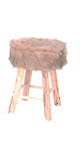 Design Fellhocker Sitzhocker mit Fell rund Hocker Kunstfell Fußhocker Fellimitat