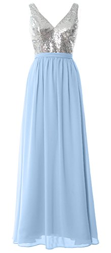 MACloth Women Straps V Neck Sequin Maxi Bridesmaid Dress 2017 Simple Prom Gown Silver-Sky Blue