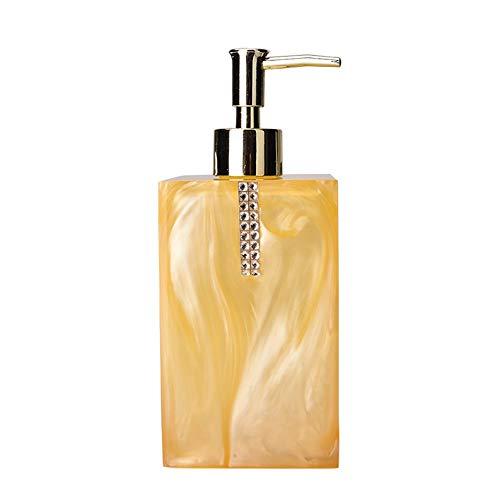 Seifenspender mit Edelstahlpumpe - Quadratischer nachfüllbarer Flüssigseifenspender Pumpflasche, Lotions- / Seifenspender für Küchen- oder Badarbeitsplatten (Farbe : Gelb)
