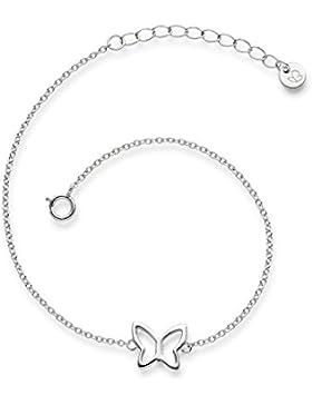 Glanzstücke München Damen-Armband Schmetterling Sterling Silber 17 + 3 cm - Silber-Armkettchen Freundschaftsarmbänder...