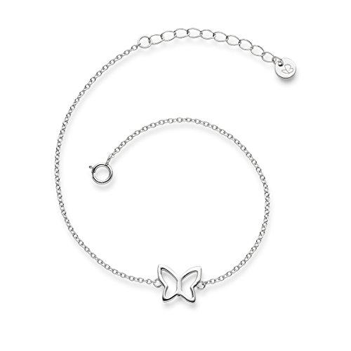 Glanzstücke München Damen-Armband Schmetterling Sterling Silber 17 + 3 cm - Silber-Armkettchen Freundschaftsarmbänder Armbändchen Silber 925 (Schmetterlings-armband)