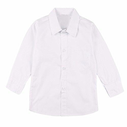 iiniim Jungen Hemd Langarm Baumwolle Schuluniform Shirt Tops Für Herbst/Winter Party Freizeit Casual Gr.92-170 Weiß 164-170/14-15 Jahre (Schuluniform-jungen-18)