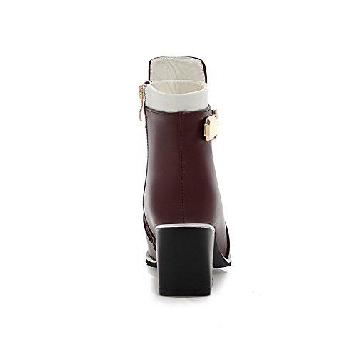 VogueZone009 Damen Reißverschluss Mittler Absatz Pu Leder Gemischte Farbe Stiefel Weinrot