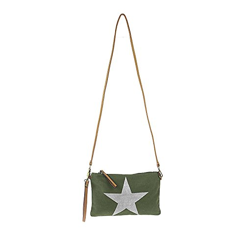 OBC Bags&More , Pochette pour femme Beige Khaki (Strass Stern) Army Grün