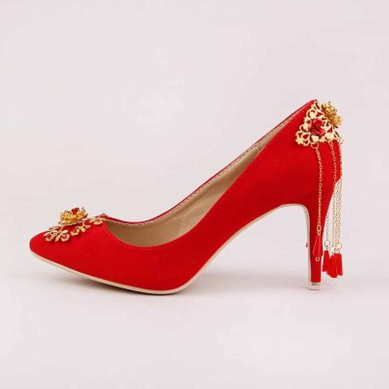 VIVIOO Prom Sandals rosso scarpe Suede Fringed Bride Bride Bride Wedding scarpe Tip High-Heeled Dress scarpe oroen Flowers Autumn...   Sale Online    Maschio/Ragazze Scarpa  57e2d0