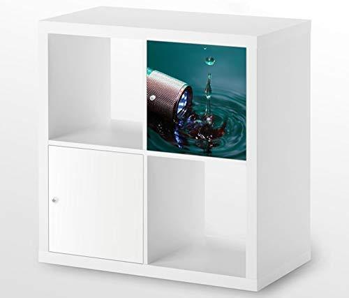 Möbelaufkleber für Ikea KALLAX / 1x Türelement Taschenlampe Wasser Kat19 Wassertropfen Aufkleber Möbelfolie sticker (Ohne Möbel) Folie 25D121