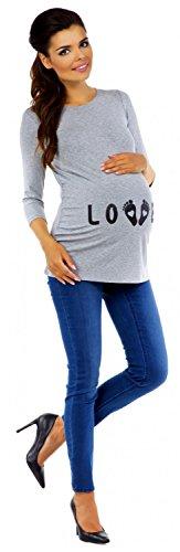 Zeta Ville - Damen Umstands-Oberteil Top T-Shirt witzige Babyfüßchen Druck 548c Grau