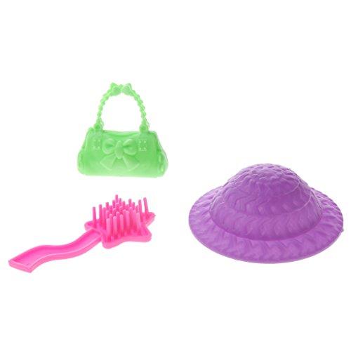 Sharplace 5 Pezzi / Set Dressing Kit Makeup Tavolo + Sgabello + Pettine + Cappucci + Borsa per Bambole Barbie in Casuale Colore