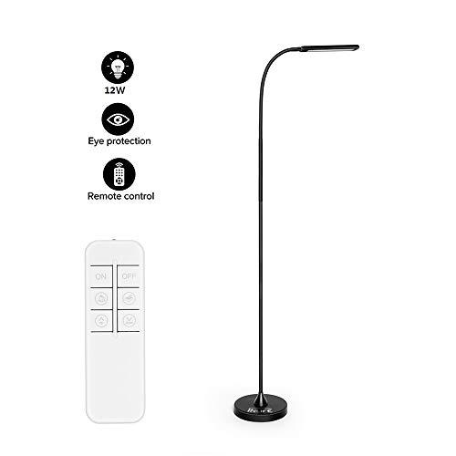INLIFE Lampadaire sur Pied Salon, Lampe de Salon Avec 64 LED 12W, Lampe de Bureau avec télécommande, 5 couleur lumière 3000-6000K,5 Luminosité Réglable,360 degrés angle