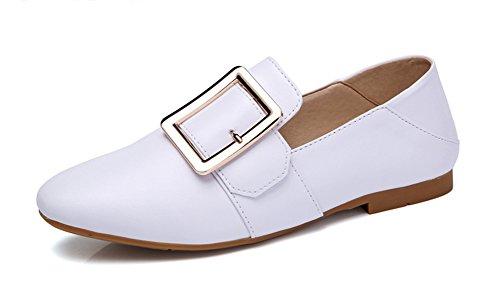 Easemax Femme Mode Talon Plat Métallique Mocassins Blanc