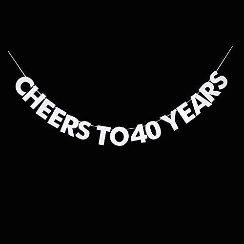 UR-PartyGo Wimpelkette, Aufschrift Cheers to 40 Years, 40. Geburtstag, Hochzeitstag, Ruhestand, Party-Wimpelkette, Dekorationen, Foto-Requisiten, Partyzubehör, Geschenke, Themen und Ideen.