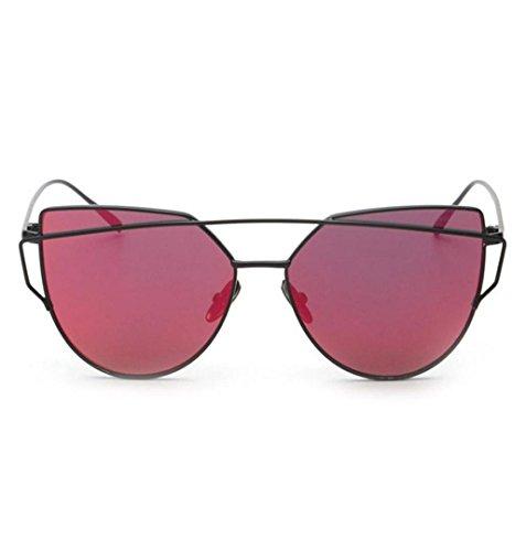 ZEZKT Aviator Mirror Lens Travel Sonnenbrille, Unisex-Sommer Weinlese Retro Katzen Augen Gläser (Twin Balken-Rot)