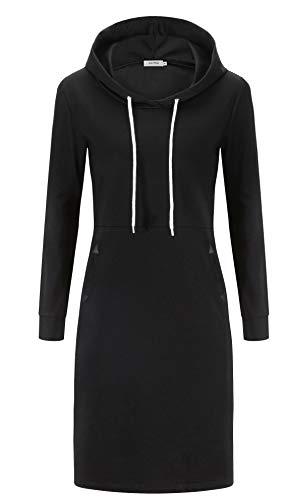 KorMei Damen Langarm Hoodie Bodycon Stretch Sweatshirt Midi Kleider mit 2 Taschen Schwarz S Stretch-sweatshirt