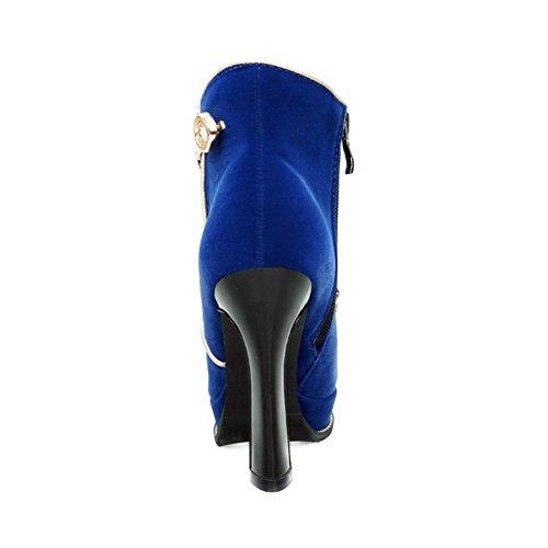 Voguezone009 Bottes À Fermeture À Glissière À Bout Rond Et À Bout Rond Avec Lacets Bleu Clair Pour Femmes