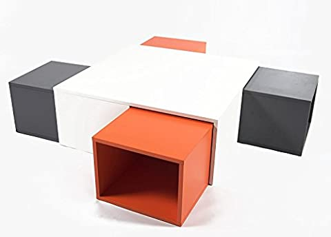 Charles Jacobs Contemporary/Modern/japanese kotatsu style Coffee Table Space Saver Cube in White Black Orange