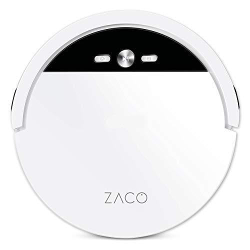 ZACO V4 Saugroboter mit bürstenloser Direktabsaugung, Ideal für Tierhaare und Hartböden, Leistungsstarker Max-Modus, Beutellos, mit Ladestation, Automatischer Staubsauger Roboter mit Fallschutz