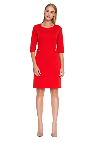 Makadamia - Robe - Cocktail - Manches 3/4 - Femme noir noir red