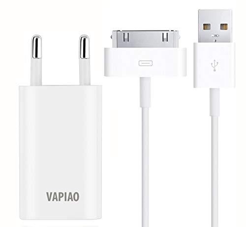 VAPIAO 30 poliges Ladeset 1 Meter [USB Ladekabel und Netzteil] passend für iPhone 4, 4s, 3g, 3gs, iPod, iPad in weiß