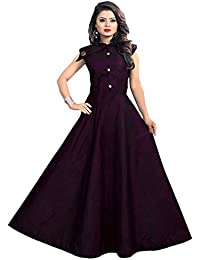 a6d6ebe48def Shree Radhe Enterprise Women s Tafeta Satin Anarkali Style Gown (Color  Purple)