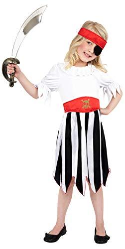 Smiffys Kinder Piratin Kostüm, Kleid und Haarband, Größe: -