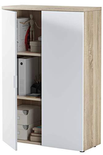 Miroytengo Estantería despacho Armario Auxiliar 2 Puertas estantes Interior Color Blanco y Roble 119x80x33
