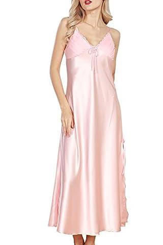 Dolamen Chemises de nuit Femmes Satin, Femmes Ensemble de Pyjama, Luxe & Lingerie Sexy Spaghetti Strap Chemise Babydoll Dentelle chemise de nuit longue (Medium, Rose)