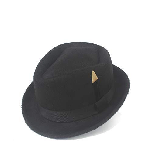 Boomder 2019 Hipster Fedora Hat Filz Wolle Schwarze Feder Damen Hut Herren Panama Jazz Hut Frauen Baseballmützen (Farbe : Schwarz, Größe : ()