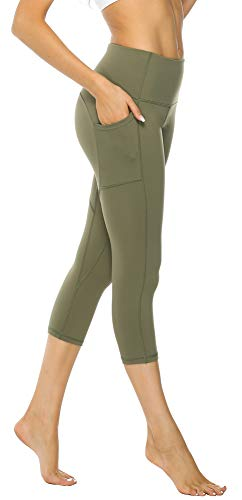 3/4 Capri Tight (Persit Sport Leggins für Damen, 3/4 Sporthose Blickdicht Capri Tights Yogahose mit Taschen Olivengrün-M)