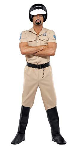 Cop Village People Kostüm - Village People Motorrad-Polizist Kostüm mit Hemd Hose Überstiefeln Helm und Gürtel, One Size