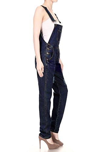 Anna-Kaci Damen Blue Gerades Bein Taschen Overall Jeans-Latzhose Dunkelbalu