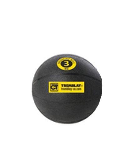 Medecine ball 3 Kg avec diamètre de 23,5 cm de couleur noir avec repère jaune -Visiodirect -