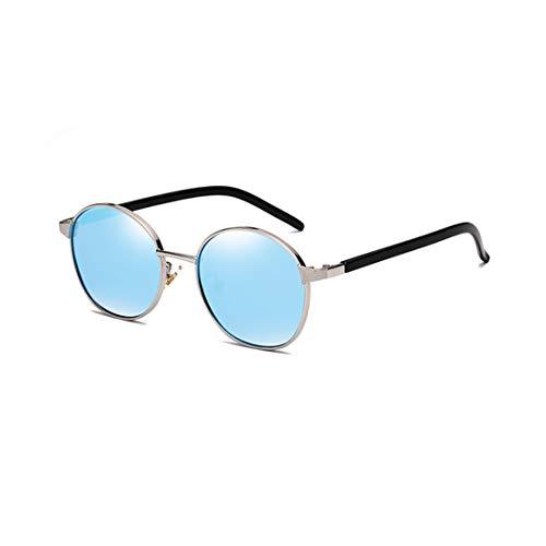 Easy Go Shopping Sonnenbrille Zweifarbige reflektierende Linse Vintage Style Classic Frame Unisex UV400 Schutzbrille. Sonnenbrillen und Flacher Spiegel (Farbe : Blau)