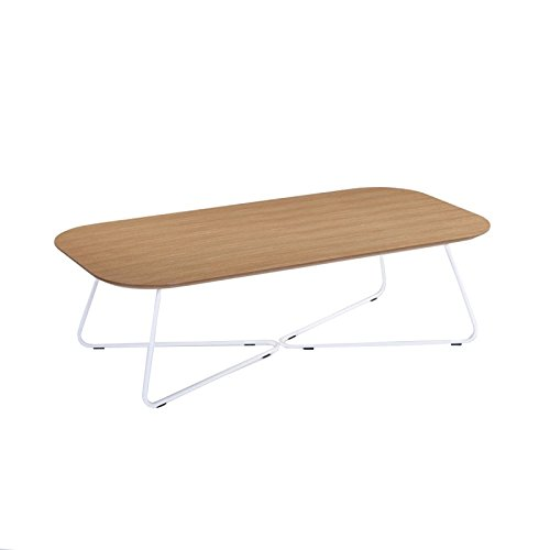 Paris Prix - Table Basse Design Basil 120cm Chêne & Blanc