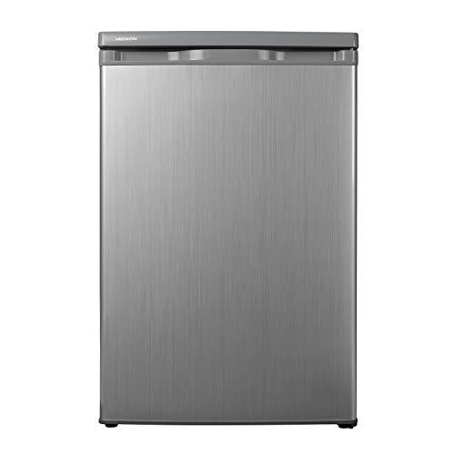 MEDION Kühlschrank (130 Liter, 85cm Höhe, Glasablagen, Gemüseschublade, unterbau-fähig, Freistehend, 91 kWh/Jahr, MD 13854) silber - 3 Tür-unterbau-kühlschrank