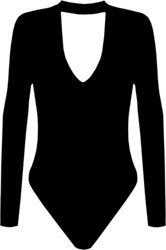 new-womens-long-sleeve-basic-v-cut-stretch-leotard-choker-bodysuit-high-neck-top