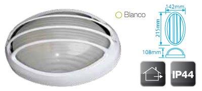 Aplique Semi-Ovalado Aluminio Rejilla Blanco E27 IP44