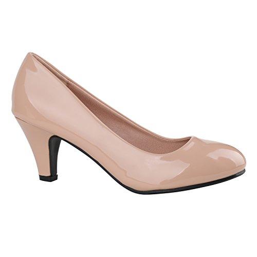 Klassische Damen Pumps Stilettos Abend Leder-Optik Glitzer Metallic Lack Schleifen Tanz Braut Schuhe 137799 Rosa Lack 38 Flandell