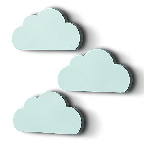 XXL Wolken mit 3D-Effekt als Kinderzimmer Deko Wandtattoo Kinderzimmer 30x15 cm 5mm Kunststoff (mint) (Mint Grüne Dekorationen)