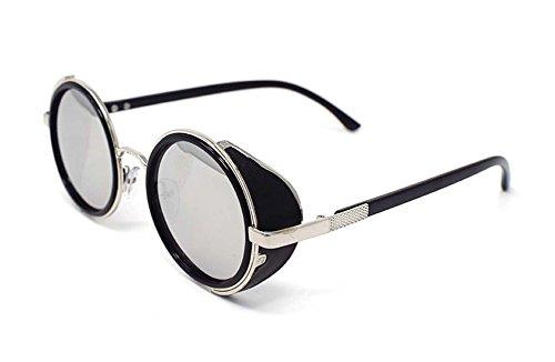 Ultra Steampunk Sonnenbrille Silber Rahmen mit verspiegelten silbernen Gläsern 50er Jahre Runde Gläser mit UV400 Schutz verfügbar in Gold Silber braun blau verspiegelten Leopardenmuster Tee Kupfer