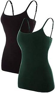 ATTRACO Women's Cotton Camisole Shelf Bra Spaghetti Straps Tank Top 2 P