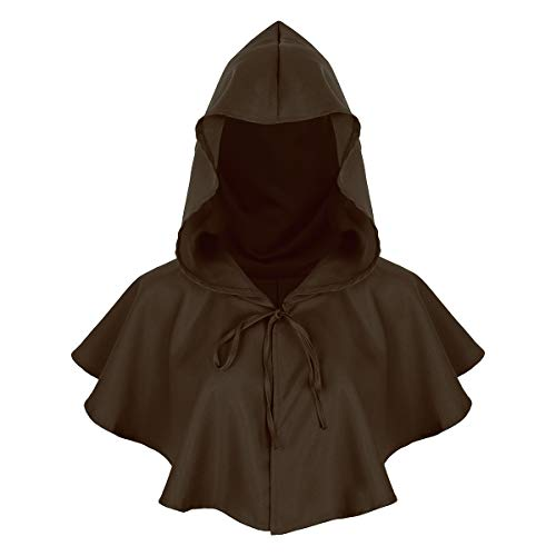 Agoky Unisex Kapuzen Umhang kurz Cape Mantel Gothic Teufel Gruselig Halloween Kostüm Zubehör Braun One Size (Teufel Kostüm Damen Mit Cape)